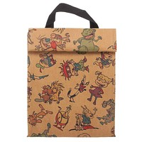 Nickelodeon Lunch Box 90s Cartoon Characters Rugrats Ren And Stimpy Ahh Monsters Reptar Tote Lunch Brown Bag