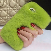 "Real Rabbit Fur Case For Iphone 6 6s 4.7 ""6 6S Plus 5.5 ""Luxury Hair Cover Crystal Diamond Woman Girly Phone Cases For Iphone 6"