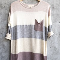 final sale - eden - long sleeve color block sweater tunic - mauve multi