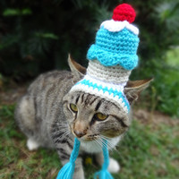 Cupcake Cat Dog Hat Costume - The Blue Cupcake Party Hat for Cats and Small Dogs