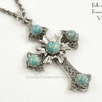 Cross Pendant Necklace Vintage Silver Filigree Faux Turquoise Accents