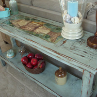 Handmade - Wood - Table - Shabby - Beach Cottage - Sofa or Buffet Table - Reclaimed Wood - Console Table