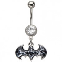 DC Comics Belly Button Ring Navel 316l Surgical Steel, Cubic Zirconia Batman