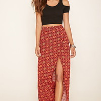 Ornate Print Maxi Skirt