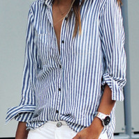 Blue Stripe Long Sleeve Blouse