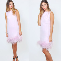 Vintage 60s OSTRICH Feather Cocktail Dress Lavender Mini Dress Retro Shift Dress Mod FEATHER Party Dress