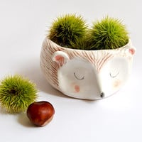 Ceramic Hedgehog Bowl in White Clay and Decorated with Pigments in Pink, Brown and Black Colors. Made To Order