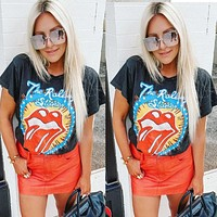 2020 new women's lip print pattern casual short-sleeved T-shirt