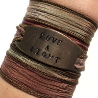 Love & Light Silk Wrap Bracelet Yoga Jewelry Spiritual Brass Hand Stamped Gift For Her or Him Christmas Stocking Stuffer Under 50 Item K38