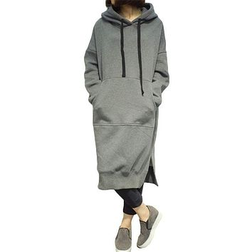 2017 Full Promotion Autumn Winter Women Hoodie Dress Plus Size Loose Pullover Casual Sweatshirt Add Velvet Thicken Hooded Ss154