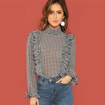 Office Ladies Blouses Women Long Sleeve Plaid Shirt Ruffle Detail Mock Neck Casual Tops Elegant Blouse