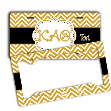 KAPPA ALPHA THETA - THIN CHEVRON BLACK AND GOLD - KAO LICENSE PLATE
