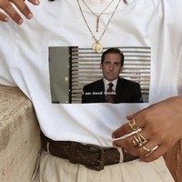 PUDO-JBH The Office Michael Scott I Am Dead Inside Quotes Funny T-Shirt Unisex Tumblr Grunge Fashion White Tee