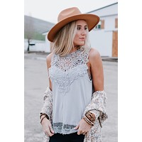 Clyde Sleeveless Lace Top - Silver
