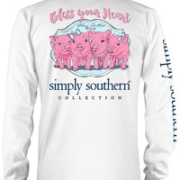 Simply Southern Preppy Collection Bless Your Heart Long Sleeve Tee in White LS-PRPPIGLET-WHT
