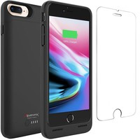 DCK4S2 iPhone 8 Plus Battery Case with Qi Wireless Charging, Alpatronix BX190plus 5.5-inch 5000mAh Slim Rechargeable Protective Portable Charger Case for iPhone 8 Plus [Apple Certified Chip; iOS 11+] - Black