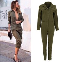 Sexy Bodycon Party Lapel Long-sleeved Playsuit Army Green Rompers