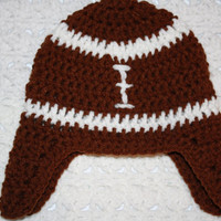 Infant Football Hat with earflaps NB, 0-3 mo or 3-6 mo 6-12 Mo Baby Shower Gift, Infant, Perfect Photo Prop