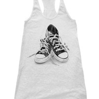 SNEAKERS Tank Top Dress American Apparel Racerback Hand Screen Printed Available S M L 3 Color Options