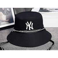 NY Fashion New Embroidery Letter Cap Hat Fisherman's Hat Black