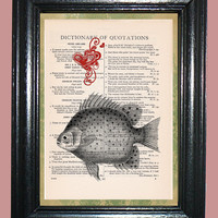 Ocean Fish with Red Heart - Vintage Dictionary Page Book Art Print Upcycled Page Art Print on Dictionary Page, Fish Print