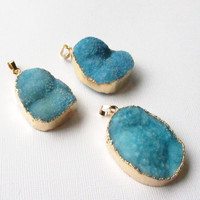 Blue Turquoise Druzy Pendant,  Aquamarine Druze edged In Gold Pendant,  Drussy Druzzy Drusy Agate Stone Pendant, Select  With/ Without Chain