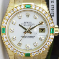 ROLEX - 18kt Gold Ladies PRESIDENT White Diamond EMERALD 179178 - SANT BLANC