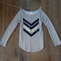 Sequin Chevron Patch Slouchy Pullover Top - Womens Off the Shoulder Tunic