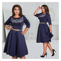 Plus size printed assorted 5XL 6XL women dress With Belt