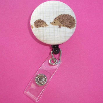 Retractable ID Badge Holder Reel - Fabric Button - Hedgehogs