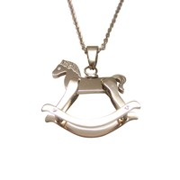 Rose Gold Toned Rocking Horse Pendant Necklace