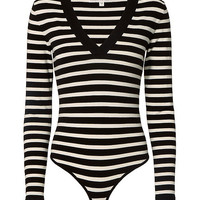 Veronica Beard Striped V-Neck Bodysuit - FINAL SALE - INTERMIX®