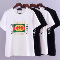 GUCCi:Behind the embroidery all-match T T-shirt short sleeve men and women