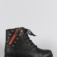 Bamboo Studded Zipper Combat Lace Up Flat Ankle Boots