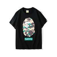 BAPE & SUPREME Joint Camouflage Camouflage Print T-shirt F-Great Me Store Black/Camouflage Green
