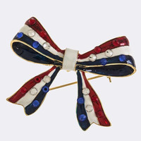 PATRIOTIC BOW BROOCH