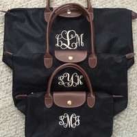 Monogrammed Tote Bag | MEDIUM Longchamp Inspired Nylon Tote | Teacher's Gifts, Bridal, Sorority, Birthday, School Bag, Christmas