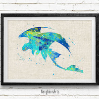 Toothless of Dragon Night Fury Watercolor Art Print, Kids Decor, Wall Art, Home Decor, Not Framed, Buy 2 Get 1 Free!