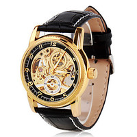 ORKINA Men's Watch, Automatic Self Wind Watch, Skeleton Watch, Gold Engraving