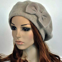 M10 Cute Bow All-Purpose Wool Women's Winter Dress Hat Beanie Beret Cap 5-Color