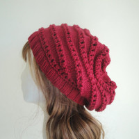 Knit Slouch Hat, Rose Red, Slouchy Beanie, Loose Hat, Horizontal Lace, Soft Wool Hat