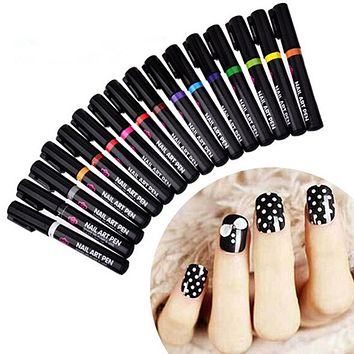 1PC 16 Colors Two-way Acrylic Paint Pen DIY Nails Accessoires Manicure
