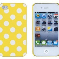 Yellow Polka Dot Embossed Hard Case for Apple iPhone 4, 4S (AT&T, Verizon, Sprint) - Includes DandyCase Keychain Screen Cleaner [Retail Packaging by DandyCase]
