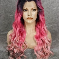 24 inch Synthetic Lace Front with Wave Texture in Rooted Hot Pink to Pastel Pink Ombre