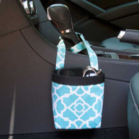 Car Cellphone Caddy ~ Aqua Lattice ~ Black Band ~ Center Console Handle
