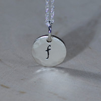 Hammered Dainty Necklace with Personalized Sterling Silver Initial Charm