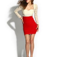 Sexy Club Cocktail Party Prom Night Out Evening Lace Dress #295 NUDE & RED S M L