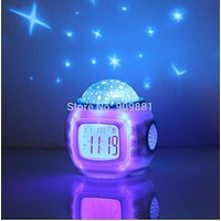 Music Starry Sky Projection Color Change Star Sky Digital Projection Alarm Clock BedRoom Sky Star Night Light Projector Lamp