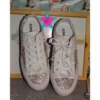 Clear Split Rhinestone Chuck Taylors White Low Tops