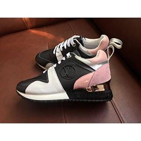"LV ""Louis Vuitton"" Trending Woman Personality Run Away Sneaker Pink Black I"